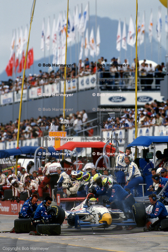 Alex Barron makes a pit stop in the AAR Gurney Eagle during the 1999 CART Indycar race in Rio de Janeiro, Brazil.