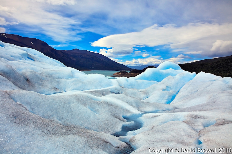 Lago Argentino is seen in the distance from the surface of Glacier Perito Moreno in the Parque Nacional los Glaciares, Argentina.