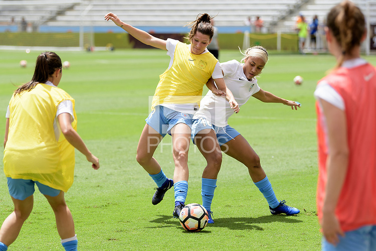 Houston, TX - Saturday April 15, 2017: Arin Gilliland and Samantha Johnson warming  up during a regular season National Women's Soccer League (NWSL) match won by the Houston Dash 2-0 over the Chicago Red Stars at BBVA Compass Stadium.