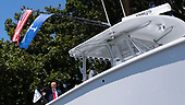 July 15, 2019 - Washington, DC, United States: United States President Donald J. Trump examines a boat manufactured by Freeman on display at the 3rd Annual Made in America Product Showcase at the White House. <br /> Credit: Chris Kleponis / Pool via CNP