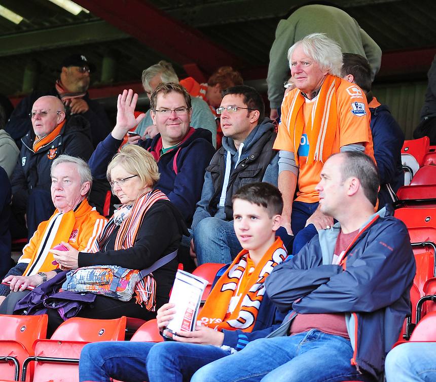 Blackpool fans before kick off<br /> <br /> Photographer Andrew Vaughan/CameraSport<br /> <br /> The EFL Sky Bet League Two - Crewe Alexandra v Blackpool - Saturday 24th September 2016 - Alexandra Stadium - Crewe<br /> <br /> World Copyright &copy; 2016 CameraSport. All rights reserved. 43 Linden Ave. Countesthorpe. Leicester. England. LE8 5PG - Tel: +44 (0) 116 277 4147 - admin@camerasport.com - www.camerasport.com