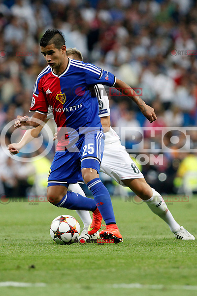 Derlis Gonzalez of FC Basel 1893 during the Champions League group B soccer match between Real Madrid and FC Basel 1893 at Santiago Bernabeu Stadium in Madrid, Spain. September 16, 2014. (ALTERPHOTOS/Caro Marin) /NortePhoto.com