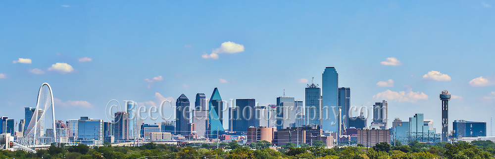 This panorama of Dallas Texas was taken so it would capture Dallas attractions like the Margaret Hunt Hill bridge and the Reunion Tower along with other high rise office building located in the downtown skyline.