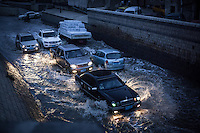 "Flooded street in Old Sanaa during Ramadan, the rainy season. This photo was taken right before ""Magreb"", the prayer call to break the fast."