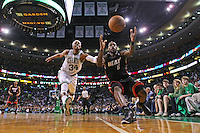 Boston, MA - Miami Heat small forward LeBron James outraces Boston Celtics small forward Paul Pierce for a loose ball during a 98-90 OT Heat victory  in Game 4 of the Eastern Conference Semifinals at TD Garden on 5, 9 2011.