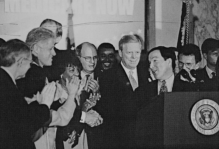 Rep. Michael Forbes, D-N.Y. shaking hands with President Bill Clinton at Democratic Rally on Medicare. August 6, 1999. (Photo by Rebecca Roth/CQ Roll Call)