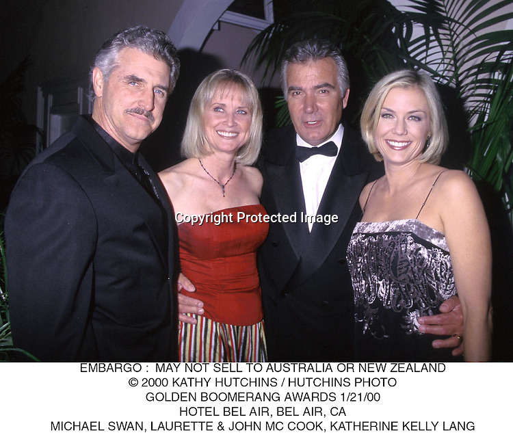 ©2000 KATHY HUTCHINS/HUTCHINS PHOTO..Golden Boomerang Awards 1/21/00..Hotel Bel Air Bel Air,CA..Michael Swan,Laurette & John McCook,Katherine Kelly Lang