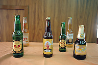 the selection of beers on display at La India, one of the Cantinas from the old center of Mexico City. 5-14-04