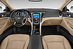 Stock photo of straight dashboard view of a 2015 Hyundai Sonata Hybrid Limited 4 Door Sedan Dashboard
