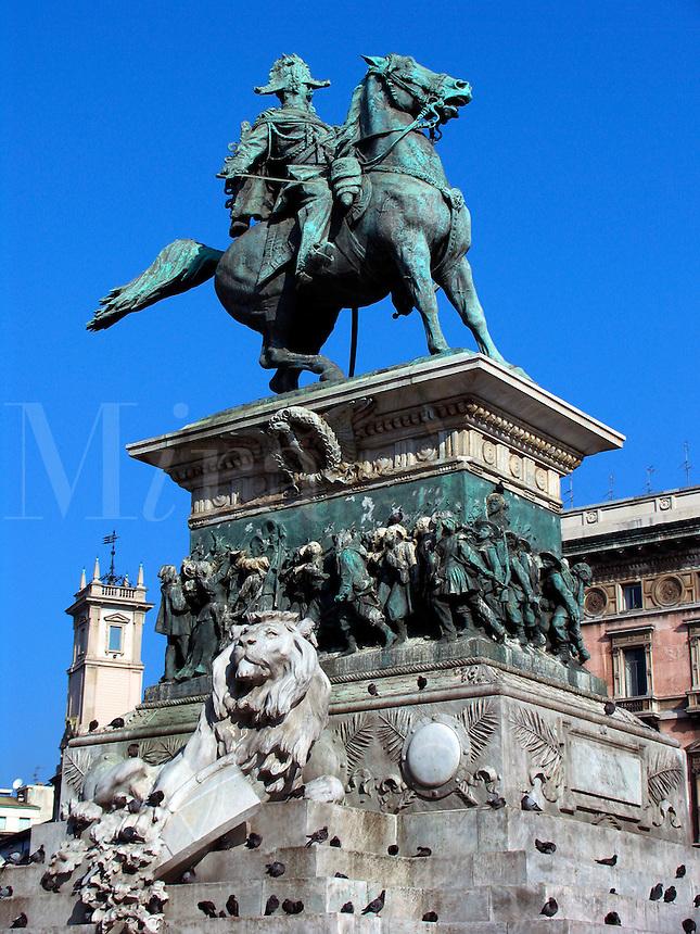 Statue of King Vittorio Emanuele II on horseback in the Piazza Duomo, Milan, Ital