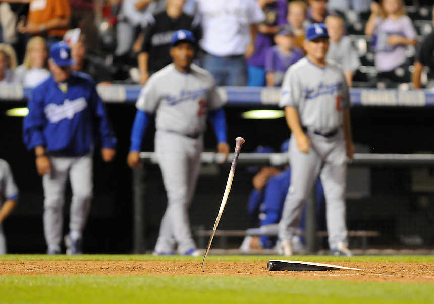 28 SEPTEMBER 2010: The splintered remains of a bat of Colorado Rockies shortstop Troy Tulowitzki (2) after the game that eliminated the Rockies from postseason contention during a regular season game between the Los Angeles Dodgers  and the Colorado Rockies at Coors Field in Denver, Colorado. The Dodgers beat the Rockies 9-7 to eliminate the Rockies from the postseason.   *****For Editorial Use Only*****