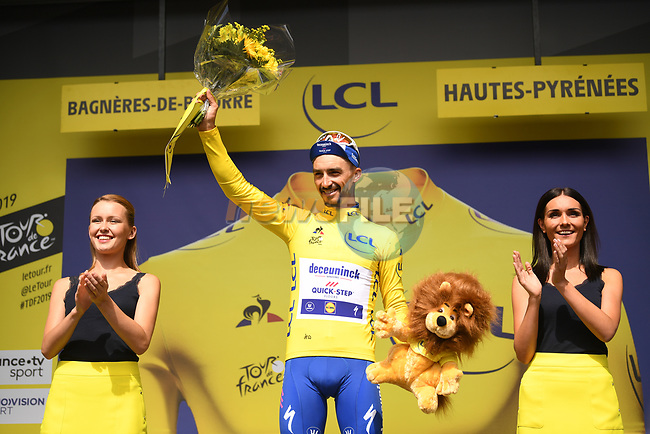 Race leader Julian Alaphilippe (FRA) Deceuninck-Quick Step retains the Yellow Jersey at the end of Stage 12 of the 2019 Tour de France running 209.5km from Toulouse to Bagneres-de-Bigorre, France. 18th July 2019.<br /> Picture: ASO/Pauline Ballet | Cyclefile<br /> All photos usage must carry mandatory copyright credit (© Cyclefile | ASO/Pauline Ballet)