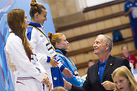 Tania Cagnotto ITA gold medal, Kristina Ilinykh RUS silver medal, Tina Punzel GER bronze medal during the Medal ceremony with Len Delegates<br /> <br /> 3m Springboard Women final<br /> <br /> Day 06 14/06/2015  <br /> <br /> 2015 Arena European Diving Championships<br /> <br /> Neptun Schwimmhalle<br /> <br /> Rostock Germany 09-14 June 2015 <br /> <br /> Photo Giorgio Perottino/Deepbluemedia/Insidefoto