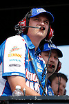 LONG POND, PA - Steve Letarte, crew chief of the #88 National Guard Chevrolet driven by Dale Earnhardt Jr., watches from atop the pit box during the NASCAR Sprint Cup Series Party in the Poconos 400 at the Pocono International Raceway on Sunday, June 9, 2013 in Long Pond, PA.