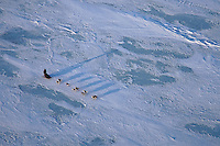 Tuesday March 13, 2007   ----   Early morning light casts long shadows on a musher crossing Norton Sound between Shaktoolik and Koyuk Tuesday morning.