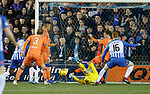 09.02.2019 Kilmarnock v Rangers: Andy Halliday clears on the line