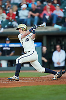 Nick Podkul (7) of the Notre Dame Fighting Irish follows through on his swing against the Louisville Cardinals in Game Eight of the 2017 ACC Baseball Championship at Louisville Slugger Field on May 25, 2017 in Louisville, Kentucky. The Cardinals defeated the Fighting Irish 10-3. (Brian Westerholt/Four Seam Images)
