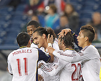 Real Salt Lake forward Devon Sandoval (49) celebrates his goal with teammates.