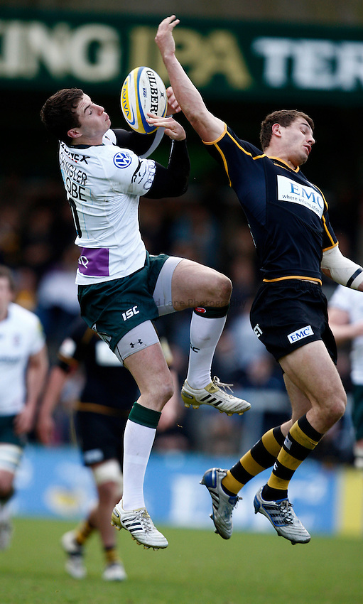 Photo: Richard Lane/Richard Lane Photography. London Wasps v London Irish. 02/03/2012. Irish's Steven Shingler wins a high ball as Wasps' Jack Wallace challenges.