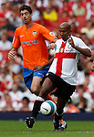 Inter Milan's Olivier Dacourt and Valencia's Javier Arizmendi.Pic SPORTIMAGE/Simon Bellis