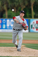 Salem Red Sox pitcher Kevin McAvoy (51) pitching during a game against the Myrtle Beach Pelicans at Ticketreturn.com Field at Pelicans Ballpark on May 6, 2015 in Myrtle Beach, South Carolina.  Salem defeated Myrtle Beach  5-4. (Robert Gurganus/Four Seam Images)