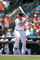 Baltimore Orioles catcher Steve Clevenger (45) during a Spring Training game against the Tampa Bay Rays on March 14, 2015 at Ed Smith Stadium in Sarasota, Florida.  Tampa Bay defeated Baltimore 3-2.  (Mike Janes/Four Seam Images)
