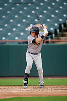 Trenton Thunder left fielder Devyn Bolasky (9) at bat during the first game of a doubleheader against the Bowie Baysox on June 13, 2018 at Prince George's Stadium in Bowie, Maryland.  Trenton defeated Bowie 4-3.  (Mike Janes/Four Seam Images)
