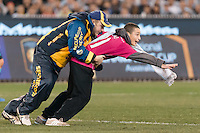 Melbourne, 24 July 2015 - A pitch invader is tackled by security staff in game three of the International Champions Cup match between Manchester City and Real Madrid at the Melbourne Cricket Ground, Australia. Real Madrid def City 4-1. (Photo Sydney Low / AsteriskImages.com)