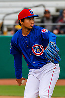 Tennessee Smokies pitcher Jen-Ho Tseng (17) during a Southern League game against the Biloxi Shuckers on May 25, 2017 at Smokies Stadium in Kodak, Tennessee.  Tennessee defeated Biloxi 10-4. (Brad Krause/Krause Sports Photography)