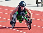 Donovan McBride of Waterloo competed in several of the wheelchair races at the Norm Armstrong Boys Track and Field Invitational on Wednesday April 11, 2018. Photo by Tim Vizer