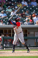 Adonis Garcia (30) of the Gwinnett Braves at bat against the Charlotte Knights at BB&T BallPark on May 22, 2016 in Charlotte, North Carolina.  The Knights defeated the Braves 9-8 in 11 innings.  (Brian Westerholt/Four Seam Images)