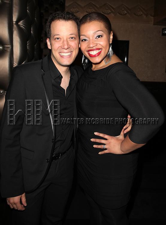 John Tartaglia & Carmen Ruby Floyd attending the Vineyard Theatre's 30th Anniversary Gala Celebration Cocktail Reception at the Edison Ballroom in New York City on 3/18/2013