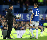 29th October 2019; Goodison Park, Liverpool, Merseyside, England; English Football League Cup, Carabao Cup Football, Everton versus Watford; Watford manager Quique Sanchez Flores hands the ball to Lucas Digne of Everton - Strictly Editorial Use Only. No use with unauthorized audio, video, data, fixture lists, club/league logos or 'live' services. Online in-match use limited to 120 images, no video emulation. No use in betting, games or single club/league/player publications