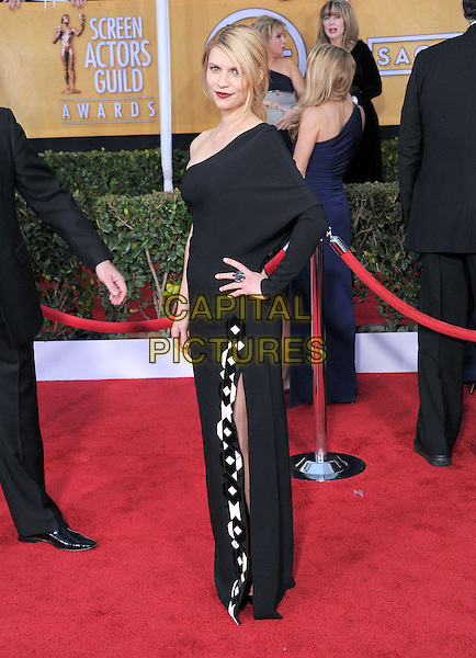 Claire Danes (wearing Givenchy).Arrivals at the 19th Annual Screen Actors Guild Awards at the Shrine Auditorium in Los Angeles, California, USA..27th January 2013.SAG SAGs full length dress black one shoulder sleeve white pattern hand on hip.CAP/DVS.©DVS/Capital Pictures.