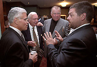 From left: Vince Lombardi Jr., sports writer Bud Lea, former Green Bay Packers guard Jerry Kramer and film maker Ted Demme at the Lombardi Legends Reunion mixer at Lombardi's Steakhouse in Appleton, Wisconsin in 2001. Demme was working on a feature film about Lombardi's Packers but died only months after this reunion.