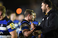 Chris Cook and Matt Banahan of Bath Rugby after the match. Aviva Premiership match, between Bath Rugby and Northampton Saints on February 9, 2018 at the Recreation Ground in Bath, England. Photo by: Patrick Khachfe / Onside Images