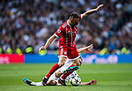 Franck Ribery of FC Bayern Munich fights for the ball with Luka Modric of Real Madrid during the UEFA Champions League Semi-final 2nd leg match between Real Madrid and Bayern Munich at the Estadio Santiago Bernabeu on May 01 2018 in Madrid, Spain. Photo by Diego Souto / Power Sport Images