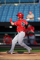 Louisville Bats right fielder Jesse Winker (23) at bat during a game against the Syracuse Chiefs on June 6, 2016 at NBT Bank Stadium in Syracuse, New York.  Syracuse defeated Louisville 3-1.  (Mike Janes/Four Seam Images)