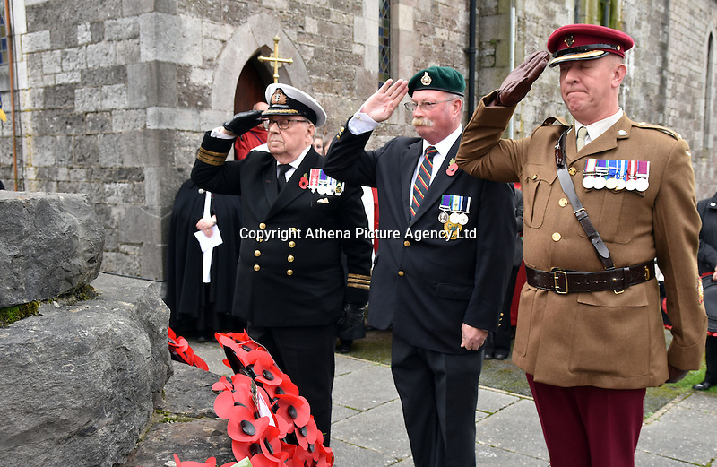 Ex servicemen salute during Remembrance Day Sunday in Pembroke Dock, west Wales, UK. SUnday 13 November 2016