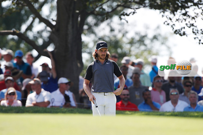 Tommy Fleetwood (ENG) plays the 9th hole during the first round of the 100th PGA Championship at Bellerive Country Club, St. Louis, Missouri, USA. 8/9/2018.<br /> Picture: Golffile.ie | Brian Spurlock<br /> <br /> All photo usage must carry mandatory copyright credit (© Golffile | Brian Spurlock)