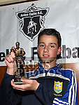 Ardee Celtic Under 14 player of the year Jay Crawley at the Ardee Celtic annual awards night in Ardee parish centre. Photo:Colin Bell/pressphotos.ie