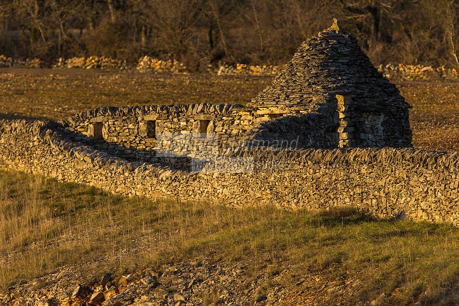 Europe/Europe/France/Midi-Pyrénées/46/Lot/Env de Livernon/Bélinac: Parc Naturel Régional des Causses et du Quercy - Murets en pierre séche et caselle sur le causse //   France, Lot, around Livernon , Belinac, Regional Natural Park of Causses of Quercy, dry stone boundary walls and caselle on the mesa