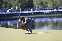 Keegan Bradley (USA) misses his putt on the 14th green during Thursday's Round 1 of the 2017 PGA Championship held at Quail Hollow Golf Club, Charlotte, North Carolina, USA. 10th August 2017.<br /> Picture: Eoin Clarke | Golffile<br /> <br /> <br /> All photos usage must carry mandatory copyright credit (&copy; Golffile | Eoin Clarke)
