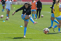 Bridgeview, IL - Saturday April 22, 2017: Christen Press during a regular season National Women's Soccer League (NWSL) match between the Chicago Red Stars and FC Kansas City at Toyota Park.