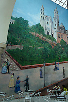 Cafe mural showing the main square and cathedral in Merida, Yucatan, Mexico...