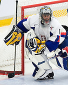 Branislav Konrad (HKm Nitra - Slovakia) makes a save. The Suisse defeated Slovakia 2-1 in a 2007 World Juniors match on January 2, 2007, at FM Mattson Arena in Mora, Sweden.