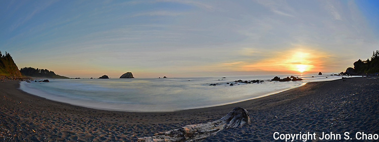 False Klamath Cove sunset panorama of incoming tide. Klamath, Redwood National Park, CA.
