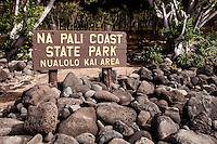 Na Pali Coast State Park Nualolo Kai Area sign, Kaua'i