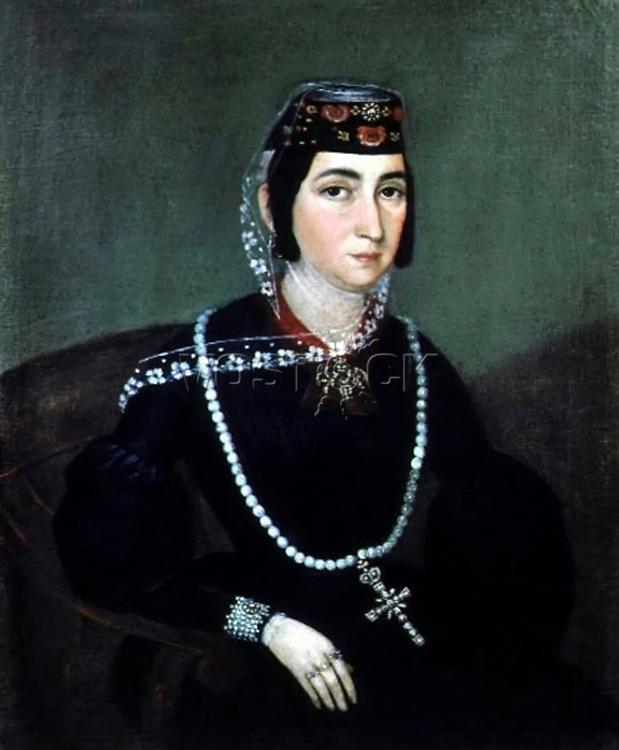 Wife of Alexander Chavchavadze Salome Ivanovna Orbeliani, circa 1840s. Artist: Hakob Hovnatanyan (1806-1881).