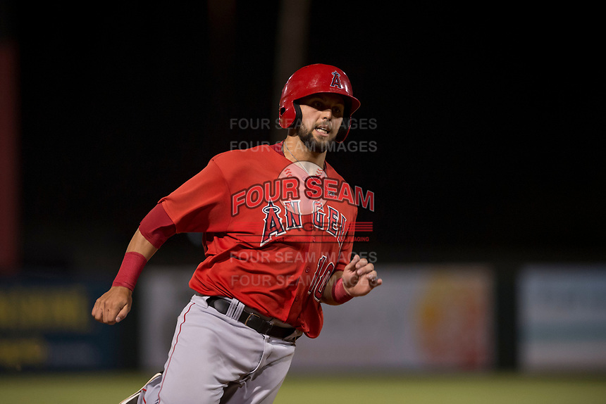 AZL Angels first baseman Brett Bond (10) runs the bases during an Arizona League game against the AZL Indians 2 at Tempe Diablo Stadium on June 30, 2018 in Tempe, Arizona. The AZL Indians 2 defeated the AZL Angels by a score of 13-8. (Zachary Lucy/Four Seam Images)